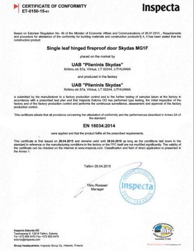SKydas MG1 F Certificate 2015-2018