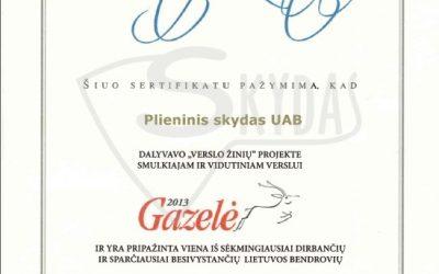 """UAB """"Plieninis skydas"""" dalyvavo """"Verslo žinių"""" projekte """"Gazelė 2013"""""""