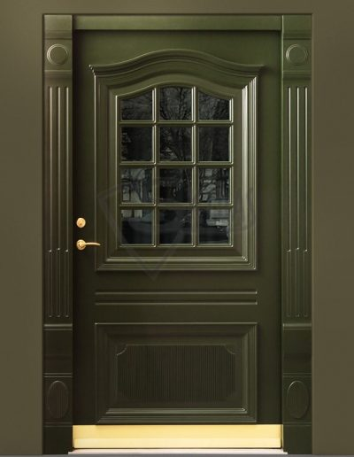 SKYDAS zalios durys su stiklu