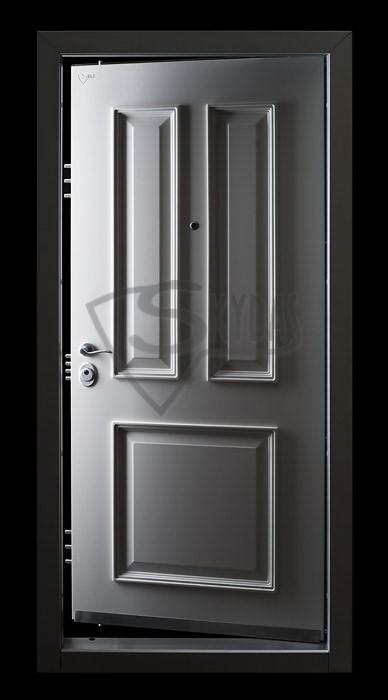 Skydas apsaugines durys baltos su bagetais