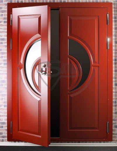 Skydas iejejimo durys raudonos su lenktu stiklu