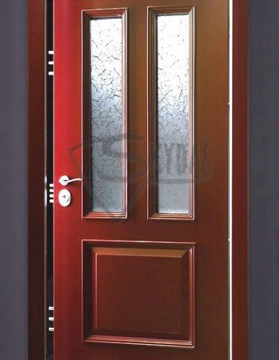 Skydas lauko durys su meniniu stiklu