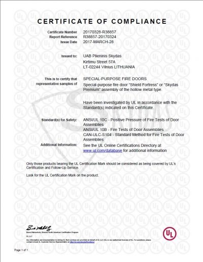 UL Premium Plus Certificate Watermarked